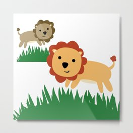 TWO  LIONS LEAPING Metal Print