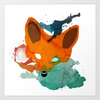 Watercolor Fox Art Print