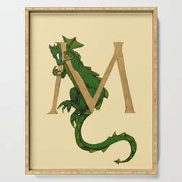 Oscar the Dragon Letter M Sans Roses Serving Tray