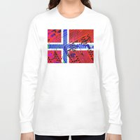 norway Long Sleeve T-shirts featuring circuit board Norway (Flag) by seb mcnulty