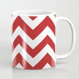Firebrick - red color - Zigzag Chevron Pattern Coffee Mug
