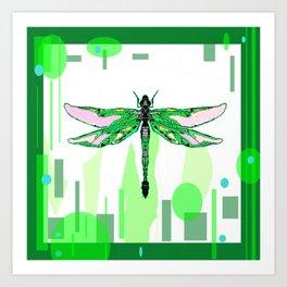 Emerald Green Dragonfly Abstract Art Print