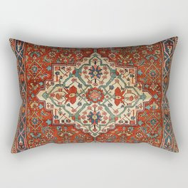 North-West Persia Bijar Old Century Authentic Colorful Royal Red Blue Green Vintage Patterns Rectangular Pillow