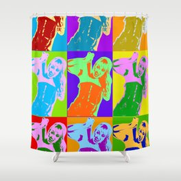 Poster with girl in popart style Shower Curtain