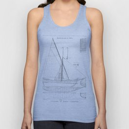Vintage black & white sailboat blueprint drawing antique nautical beach or lake house preppy decor Unisex Tank Top