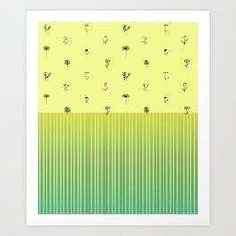 daisy and stripes Art Print