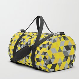 Sunny Yellow and Grey / Gray - Hipster Geometric Triangle Pattern Duffle Bag