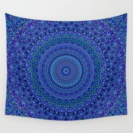 Blue Floral Ornate Mandala Wall Tapestry