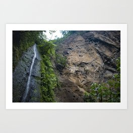 Thin Waterfall Cascading in the Rainforest of the Chocoyero-El Brujo Nature Reserve in Nicaragua Art Print