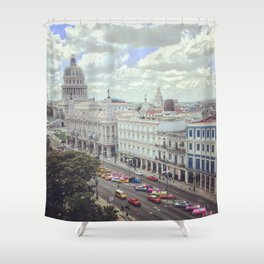 Overview of Havana main street and Capitolio Shower Curtain