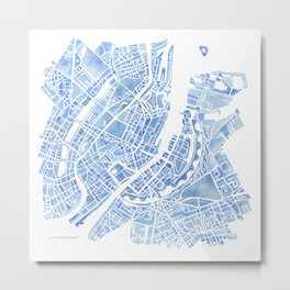 Copenhagen Denmark watercolor city map Metal Print