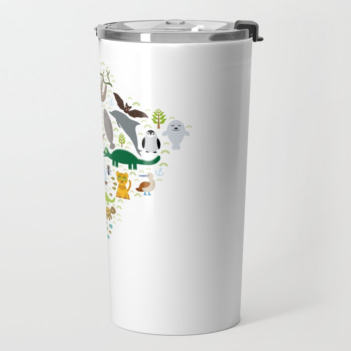 South America sloth anteater toucan lama bat fur seal armadillo boa manatee monkey dolphin Travel Mug
