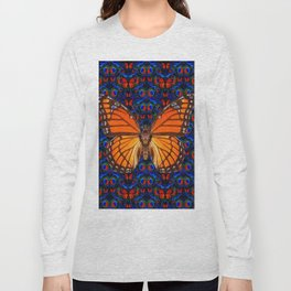 ORANGE BUTTERFLIES  & DARK BLUE ART PATTERN Long Sleeve T-shirt