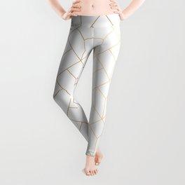 Golden Modern Abstract Geometric Pattern On White Background Leggings