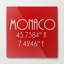 Monaco Latitude Longitude Metal Print