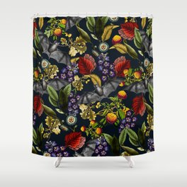 Flying Fox and Floral Pattern Shower Curtain