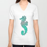 seahorse V-neck T-shirts featuring SEAHORSE by Catspaws
