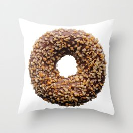 Chocolate and crushed nuts donut Throw Pillow