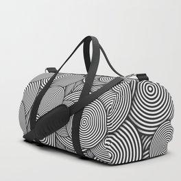 Monochrome Circles Concentric Polygons Duffle Bag