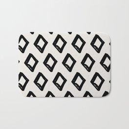 Modern Diamond Pattern Black on Light Gray Bath Mat