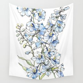 Blue Delphinium Flowers Wall Tapestry