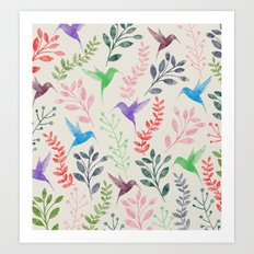 Floral & Birds II Art Print