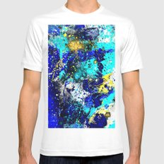 Paint Splash  Blue Mens Fitted Tee MEDIUM White
