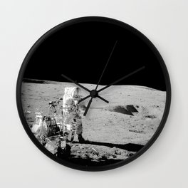 Apollo 14 - Black & White Moon Work Wall Clock