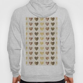 Gold and Chocolate Brown Hearts Hoody