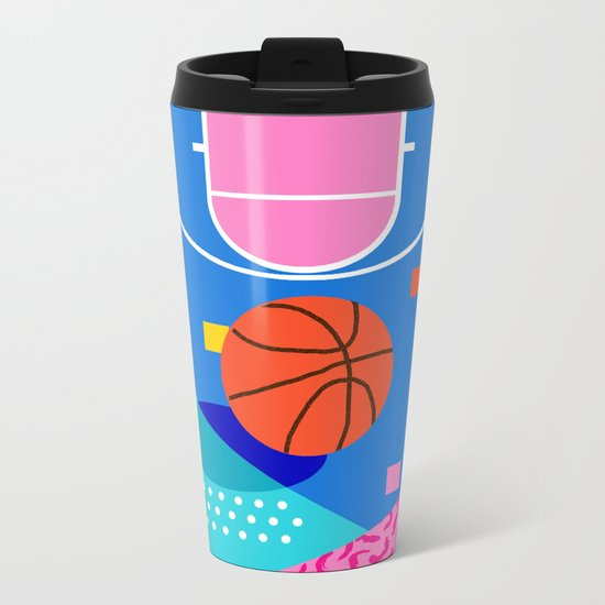 Shot Caller - memphis retro basketball sports athletic art design neon throwback 80s style Metal Travel Mug