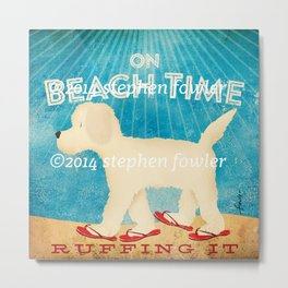 Beach Life Doodle by Stephen Fowler Metal Print