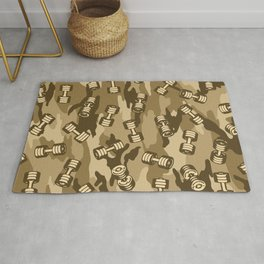 Dumbbell Gym Camo DESERT Rug