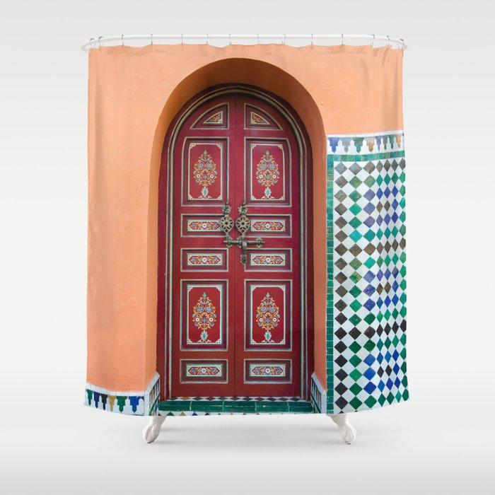 Moroccan Tile Mosaic Door in Marrakech, Morocco Shower Curtain