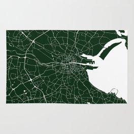 Dublin Ireland Green on White Street Map Rug
