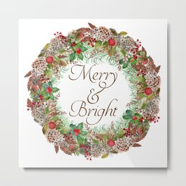 Merry & Bright Wreath Metal Print