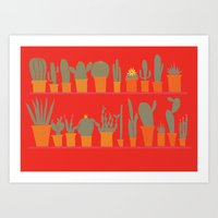 cacti Art Prints featuring Cacti by The Printed Peanut