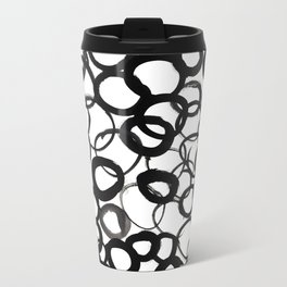 Watercolor Circle Black Metal Travel Mug