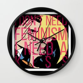 Feminism Kiss Off Wall Clock