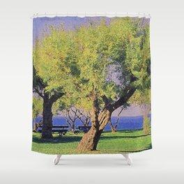 Tamarisk Trees Overlooking the Ocean Shower Curtain