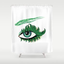 Spring eye with green leaves Shower Curtain