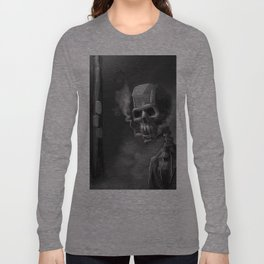Noir Skeleton Digital Illustration Long Sleeve T-shirt