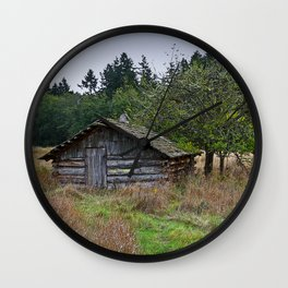 VINTAGE CABIN IN OLD ORCHARD CRISP AUTUMN SKY Wall Clock