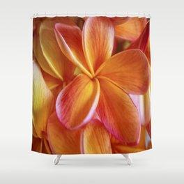 Orange Plumeria Shower Curtain
