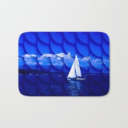 sailing blue & fishscales Bath Mat