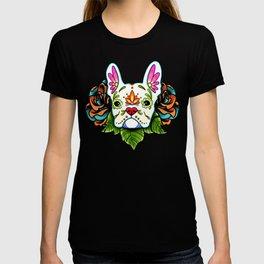 French Bulldog in White - Day of the Dead Sugar Skull Dog T-shirt