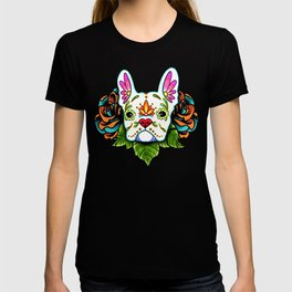 French Bulldog in White - Day of the Dead Sugar Skull Dog T-shirt