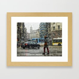 Nieve en Barcelona Framed Art Print