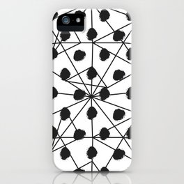 Geometrical black white watercolor polka dots iPhone Case