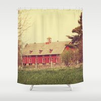 american beauty Shower Curtains featuring American Beauty Vol 18 by Farmhouse Chic