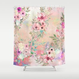 Botanical Fragrances in Blush Cloud Shower Curtain